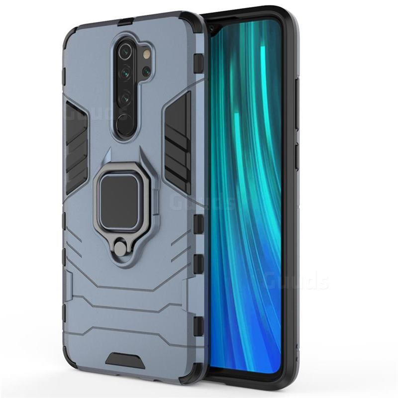 Black Panther Armor Metal Ring Grip Shockproof Dual Layer Rugged Hard Cover For Mi Xiaomi Redmi Note 8 Pro Blue Xiaomi Redmi Note 8 Pro Cases Guuds Xiaomi Armor Pro Black