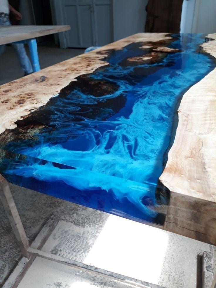 Epoxidharz Tisch Aus Pappelholz Hergestellt In Der Türkei