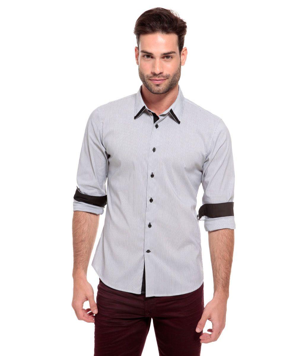 457056d2e Camisa masculina Manga longa Estampada Colarinho clássico s  botão Marca   Request Tecido  Algodão Composição  100% algodão Modelo veste tamanho  03  COLEÇÃO ...