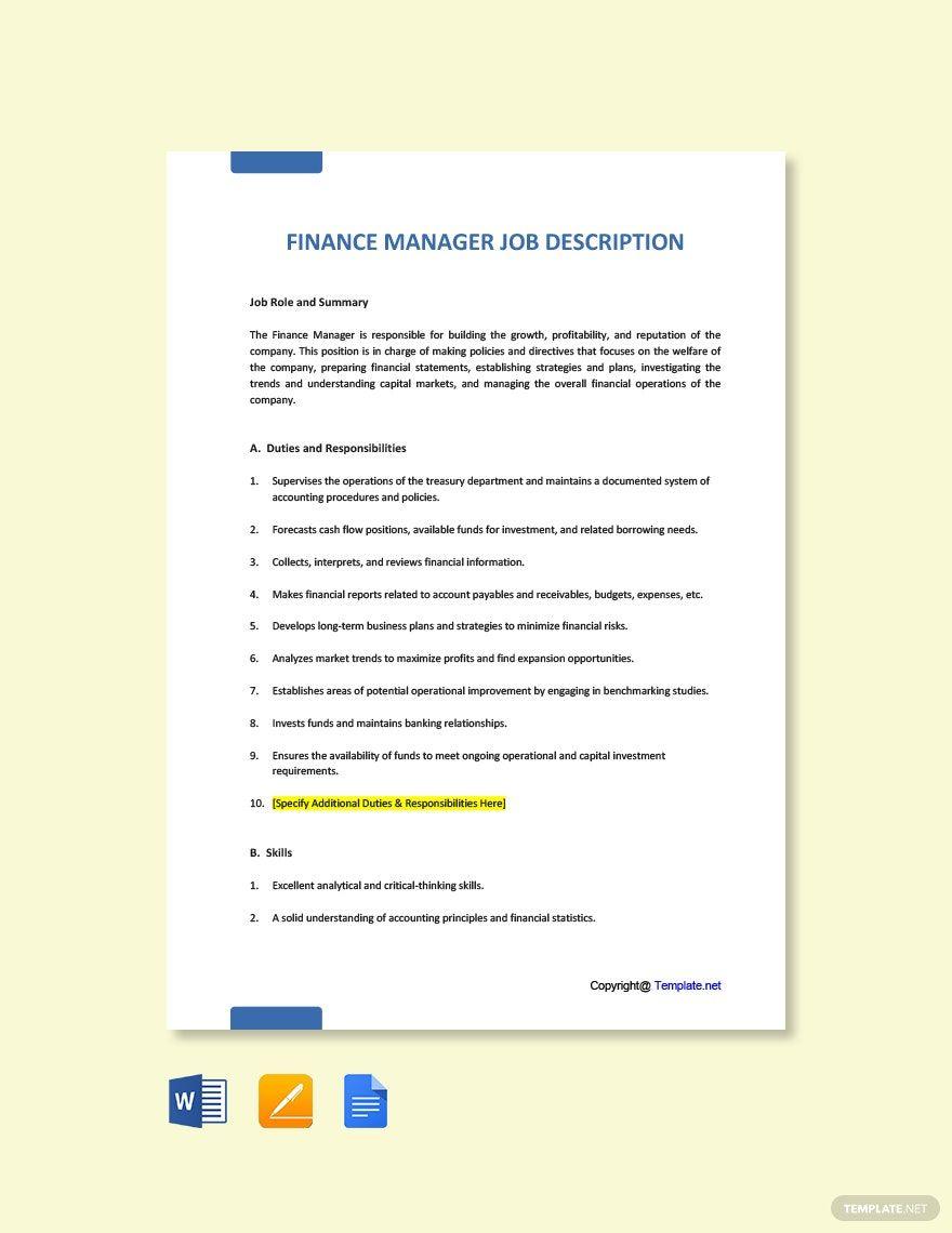 Instantly Download Free Finance Manager Job Description