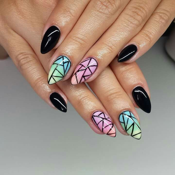 LOVE this geometric design over these lovely pastels! | {Nails We ...