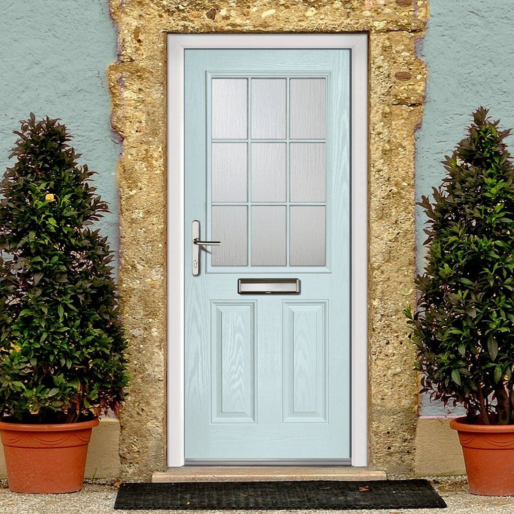 External Virtuoso Crafton Georgian Bar Composite Door Shown in Sky Blue & External Virtuoso Crafton Georgian Bar Composite Door Shown in Sky ...