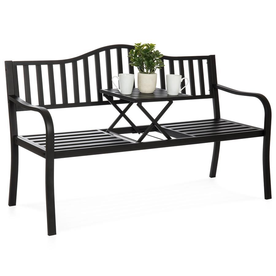 Remarkable Outdoor Cast Iron Garden Patio Double Bench W Pullout Gmtry Best Dining Table And Chair Ideas Images Gmtryco