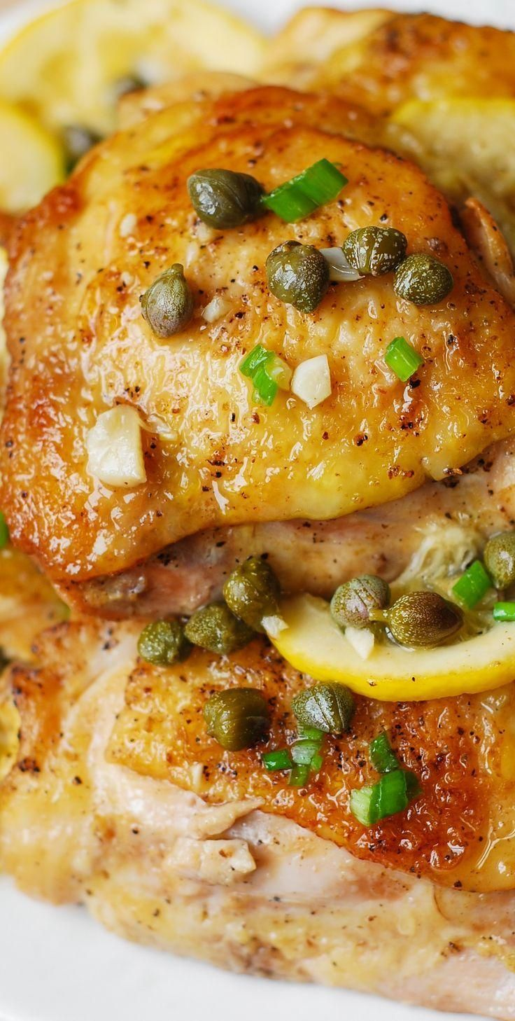 Chicken Thighs baked with capers, lemon, and garlic - fast, super easy, flavorfu...  - Eat to live.