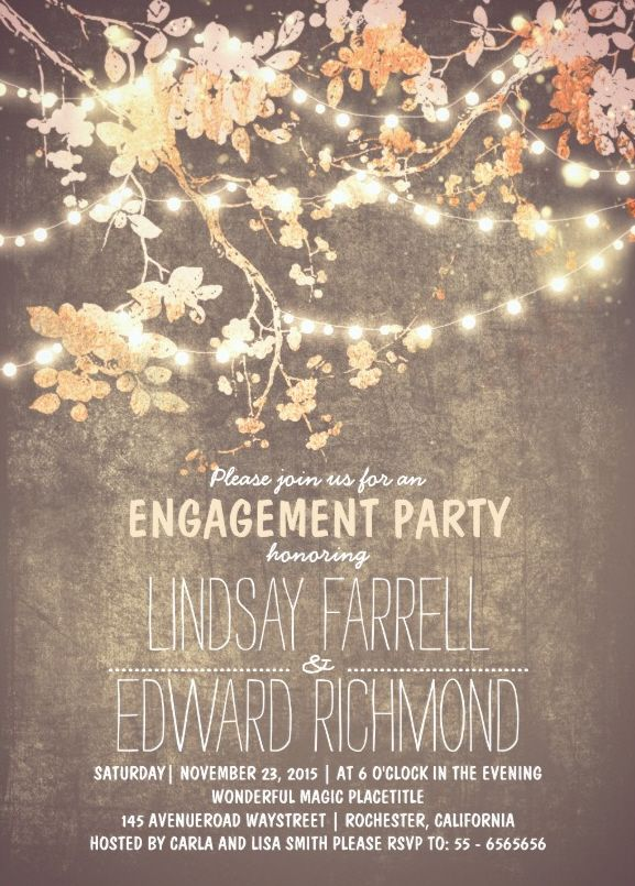 Fancy engagement party invitation card plus rustic string lights