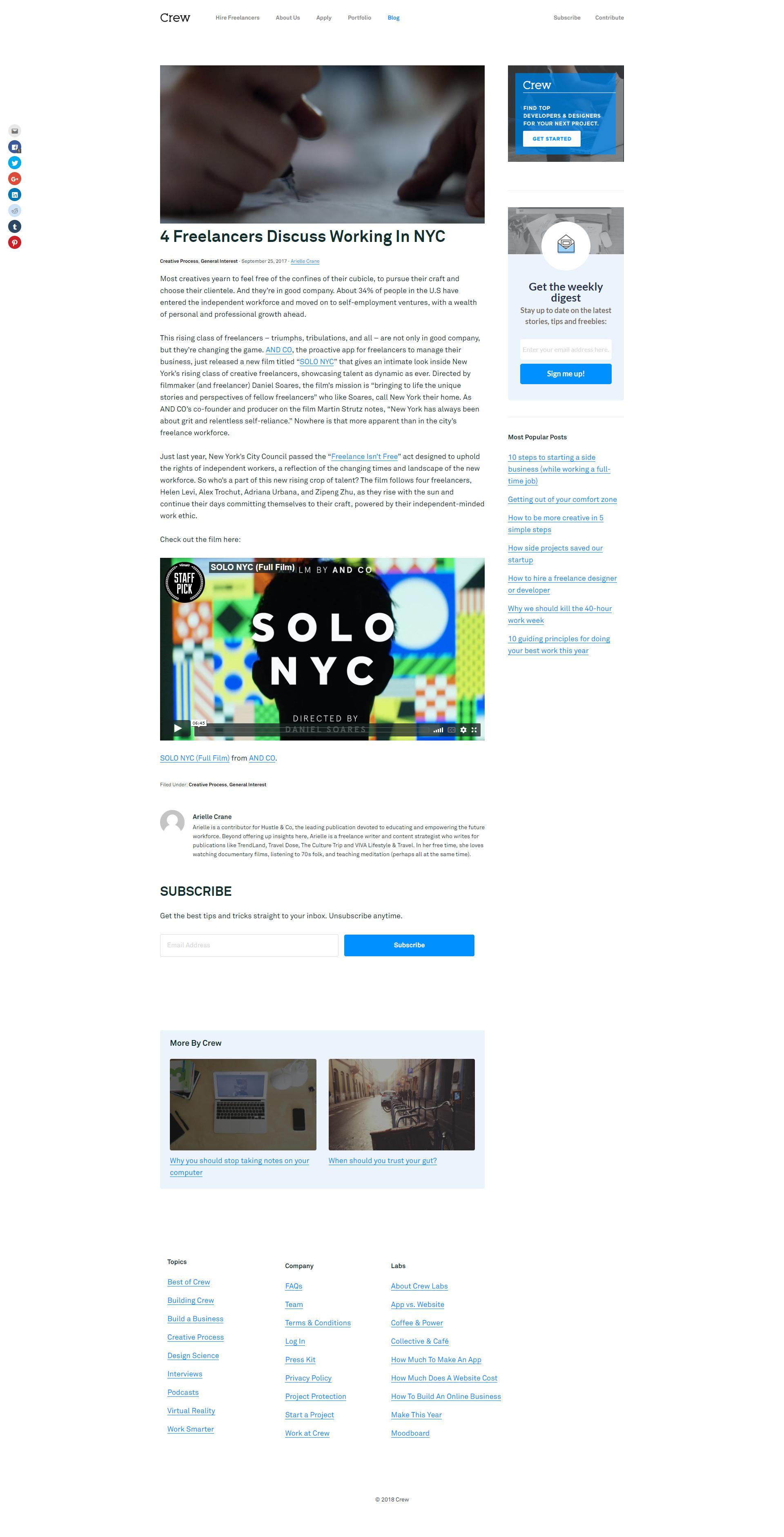 Crew Article Design Article Design Design Web Design Inspiration