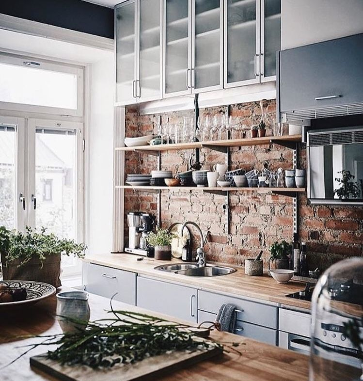 Brick Wall Add Open Shelving To Show Your Style Kitchen
