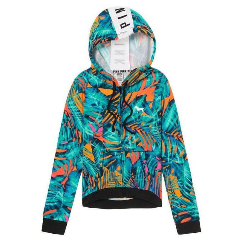 Victoria's Secret PINK Tropical Palm High Low Hoodie Zip Jacket Size L