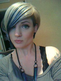 Short Blonde Hair Blue Highlights Google Search Temporary Hair
