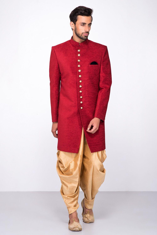 Aarambh red textured sherwani with peshwari salwar indian groom