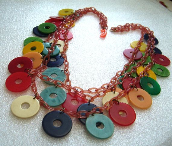 Vintage Multicolor Dangles Celluloid And By Theplasticfever 225 00 Bakelite Necklace Bakelite Brooch Dangles