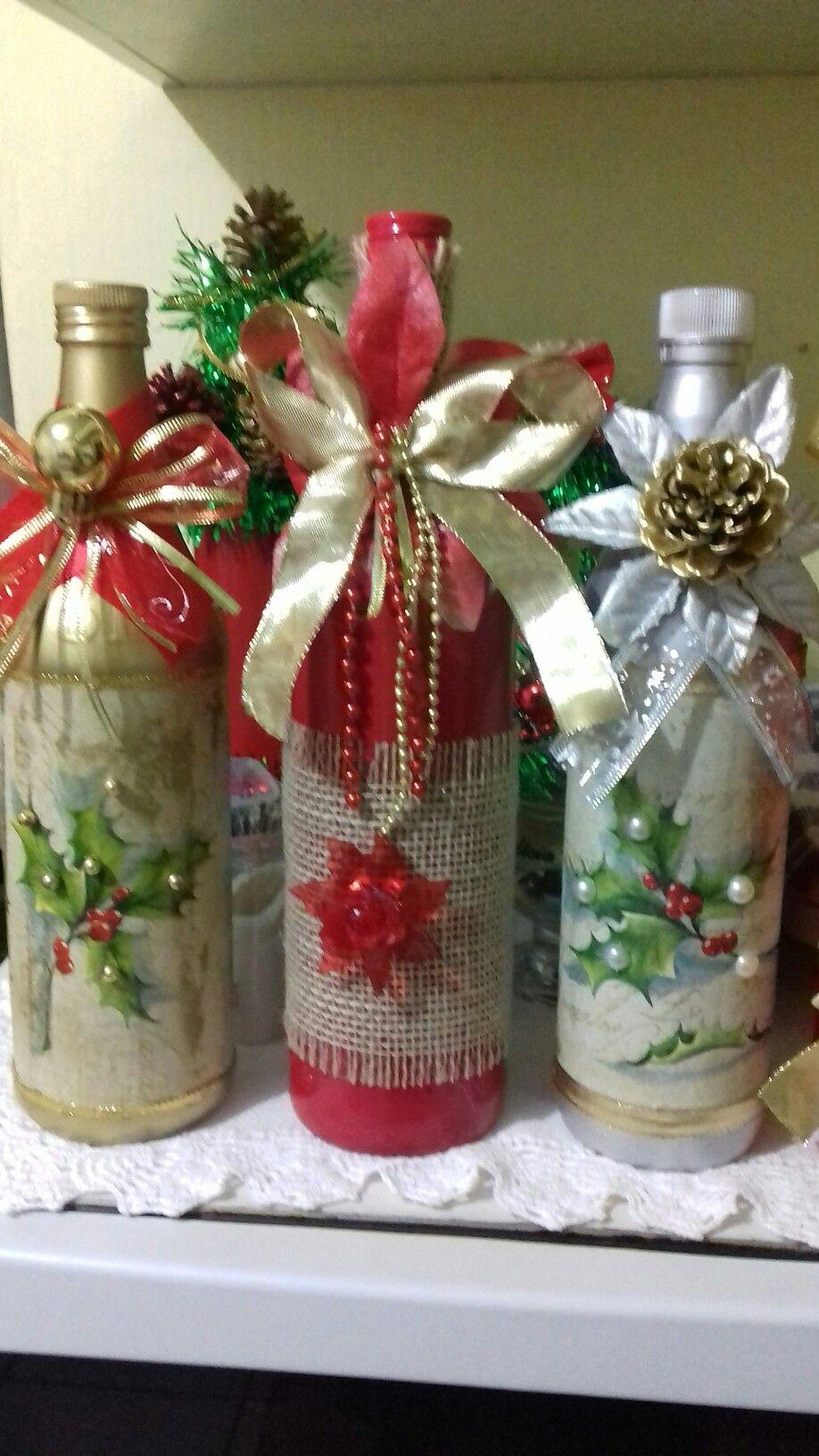 Pin de 1 321 746 9352 en project pinterest navidad botellas y botellas decoradas - Botellas decoradas navidenas ...