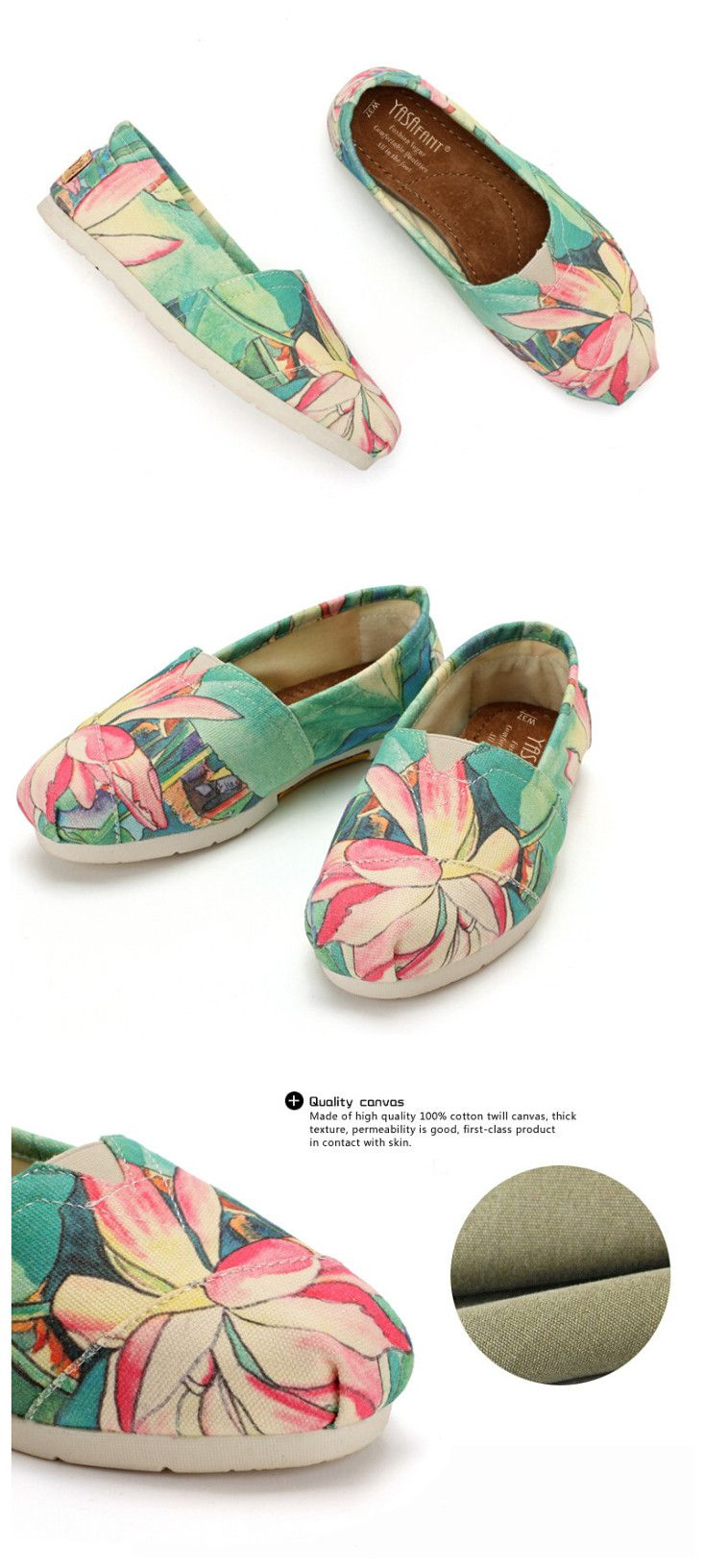 #Hand Painted Lotus Canvas Shoes,I drew it by myself.do you like it?the bright color for the #hot #summer,have a #beautiful mind.now,54% off,share with you.