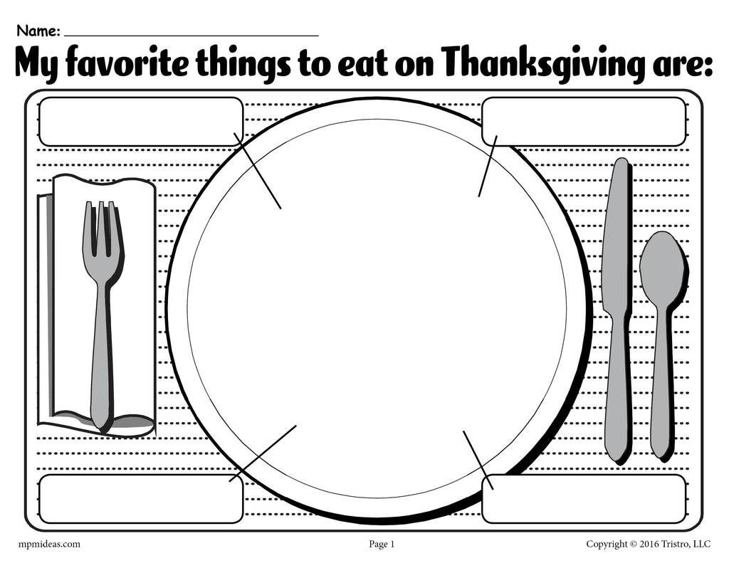 My Favorite Things To Eat On Thanksgiving Printable