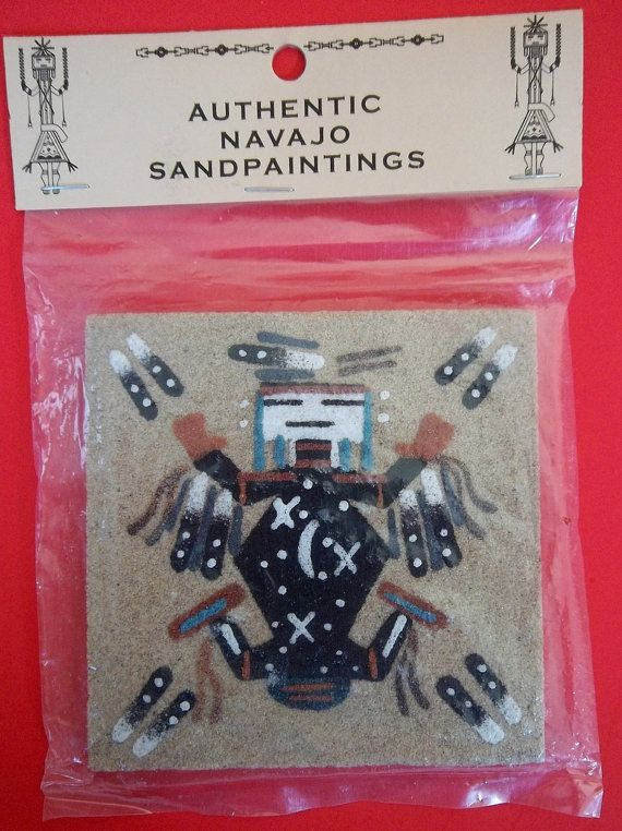 Authentic Navajo Sandpainting Father Sky Vintage Signed Native