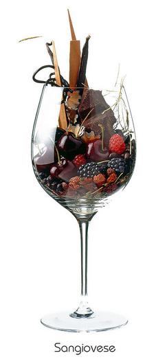 Sangiovese: Cherry, blackberry, raspberry, hay, juniper, vanilla, chilli, coffee, bitter chocolate, liquorice, cedar, graphite