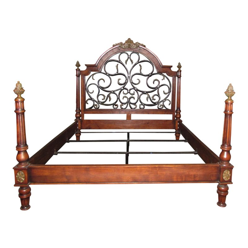 Iron And Brass Detailed Wood California King Size Bedframe With