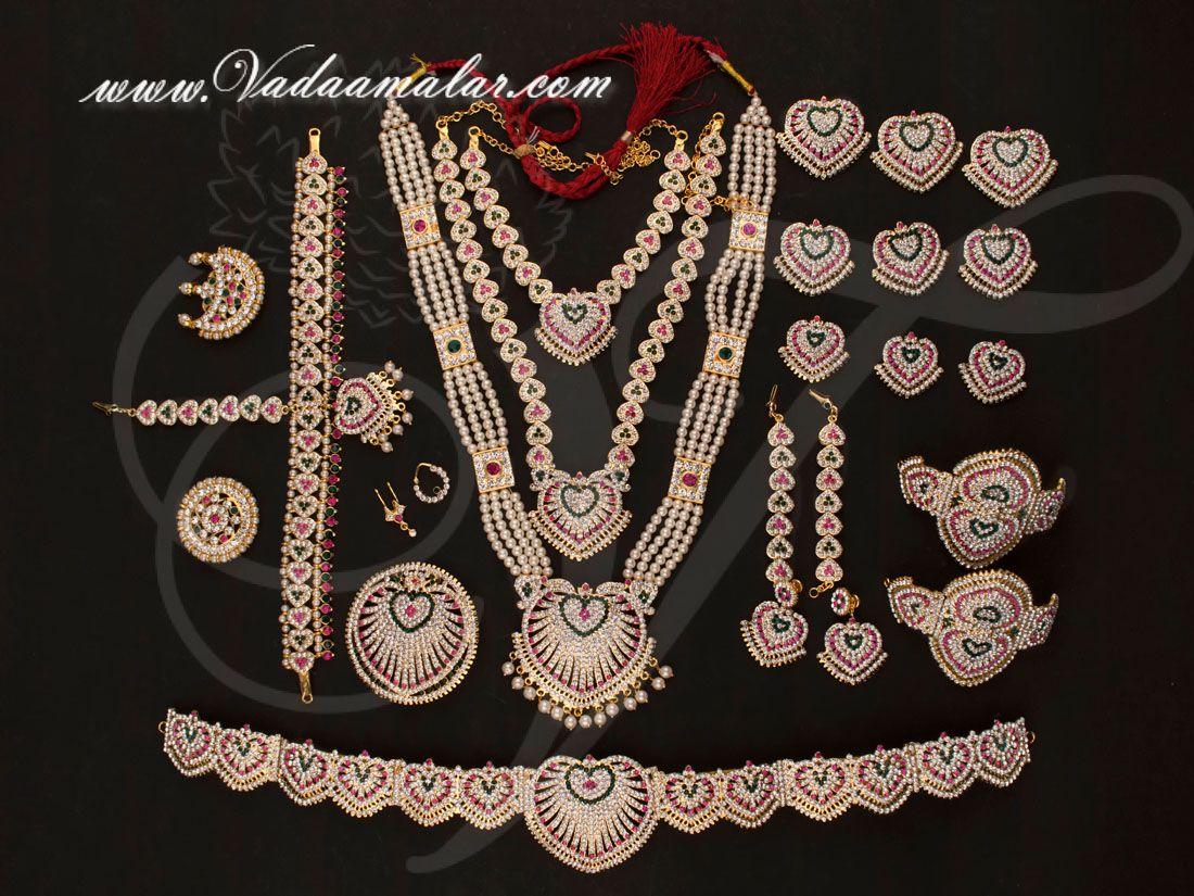 a2c6c02a608496 Kathak dances ornaments with white stones set Indian bridal dance jewellery