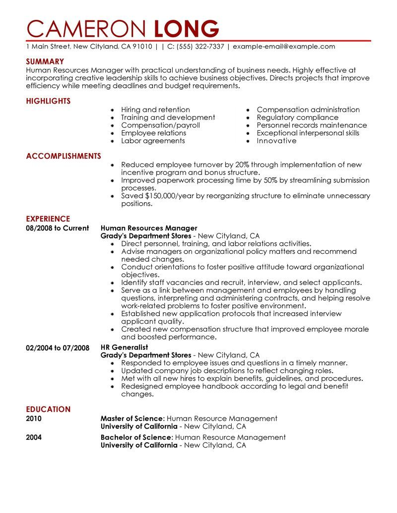 Human Resources Manager Resume Big Human Resources Manager Example  Contemporary 5 Design