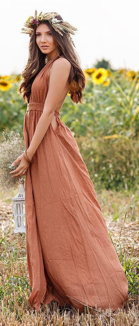 The Mysterious Girl Bronze Summer Maxi Dress