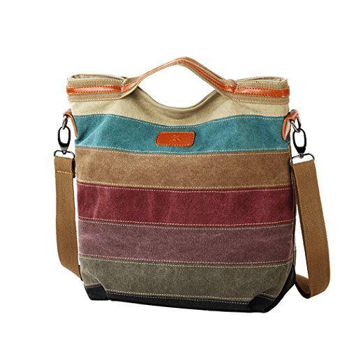Snug Star Fashion Classic Striped Canvas Satchel Single Shoulder Bag Cross  Body Bag Handbag for Women fd6a00cd87d66