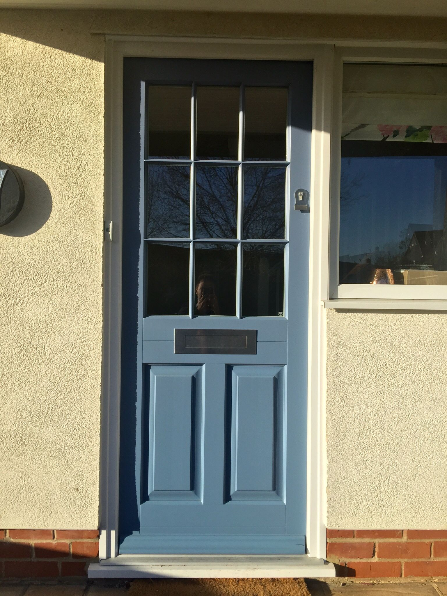 Timber Entrance Door painted RAL 5014 fitted with contemporary stainless steel ironmongery & Timber Entrance Door painted RAL 5014 fitted with contemporary ... pezcame.com