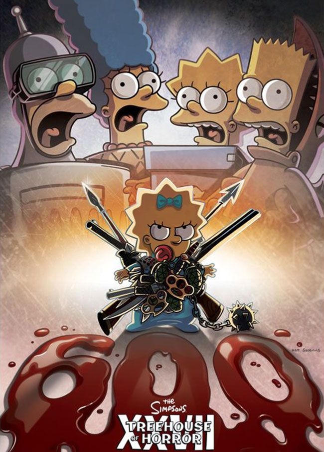 Treehouse Of Horror Episodes Online Part - 48: The Simpsons Treehouse Of Horror XXVII Poster Features Maggie As An Action  Hero à La The