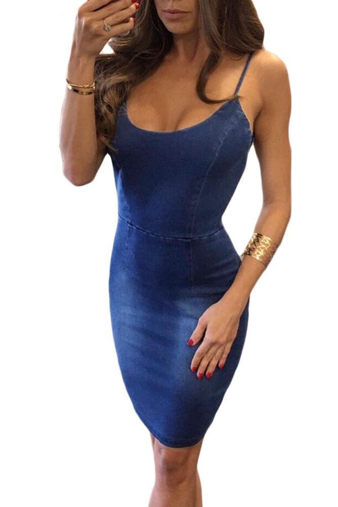 e6d05d78ce37 Sexy Alluring Spaghetti Straps Open Back Blue Denim Dress in 2019 ...