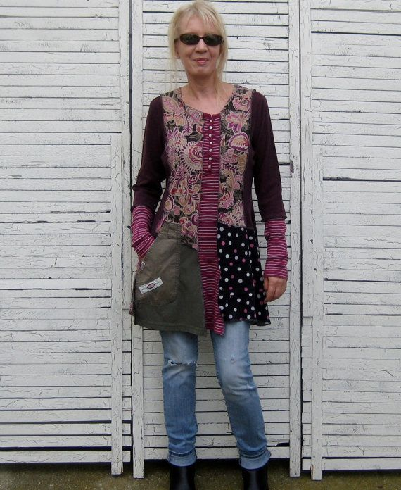 Reserved Upcycled Tunic L Upcycled Clothing by AnikaDesigns, $78.00