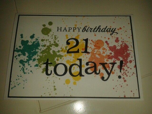 21st birthday card using Stampin Up Gorgeous Grunge stamp set. (VintageRoseDesigns )