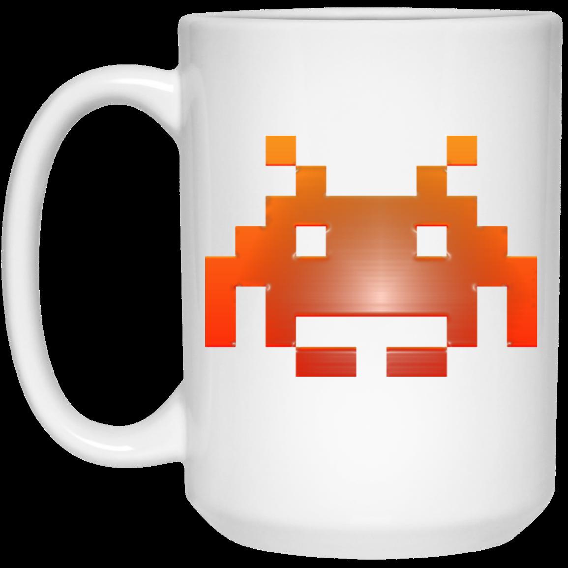 8 Bit Space Invader 15 oz. White Mug tvox apparel