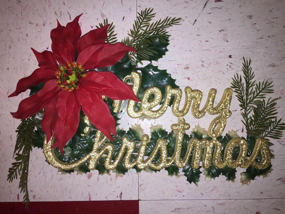 Vintage Plastic Merry Christmas Poinsettia Glitter Door Sign Decor Midcentury Ebay Merry Christmas Vintage Christmas Poinsettia Christmas