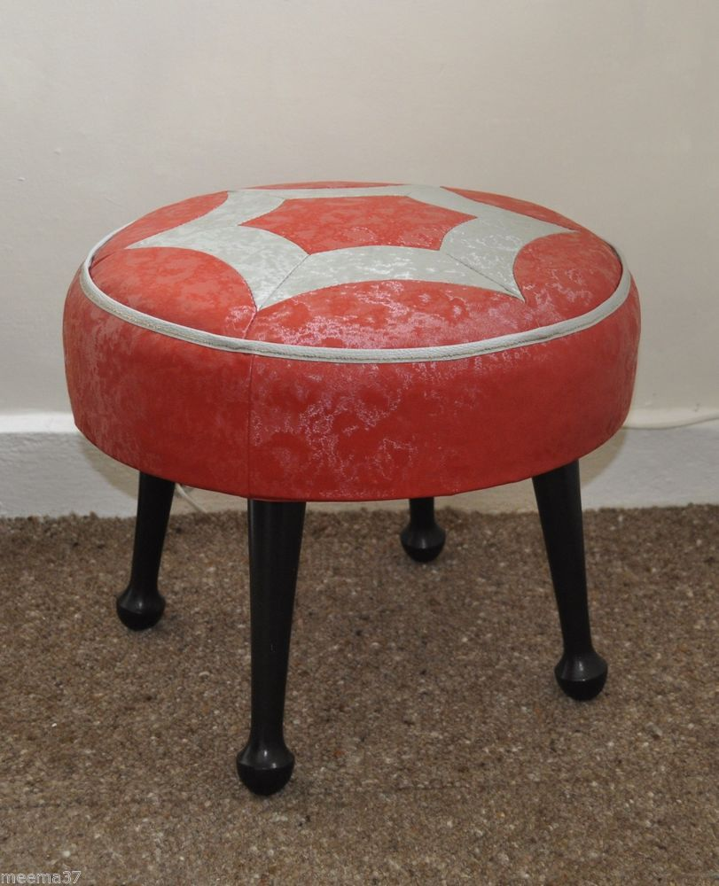Vintage 50s 60s Sherborne Foot Stool Retro Kitsch Red U0026 Grey Pouffe  Footstool