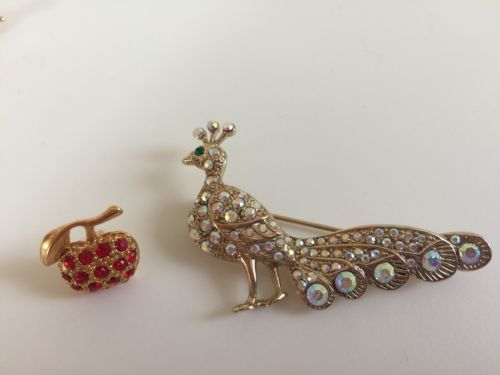 U.k. #seller lovely #crystal #diamante  peacock & apple brooch buy 1 get 1 free,  View more on the LINK: 	http://www.zeppy.io/product/gb/2/232138484158/