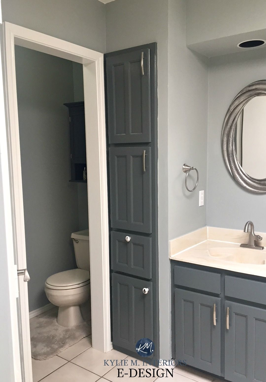 E Design An Almond Bathroom Gets A Fresh Paint Colour Oak Bathroom Vanity Bathroom Color Schemes Grey Bathroom Vanity