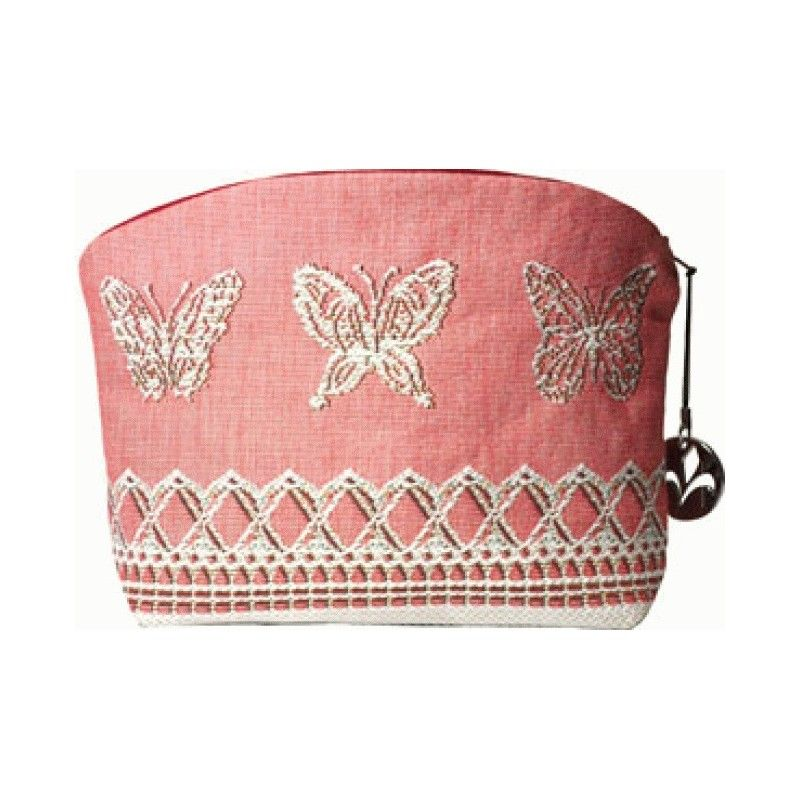 This pale rose/pink tapestry pouch is feminine and romantic and makes quite a fashion statement. The fabric is so beautiful that it also comes in a throw pillow (see throw pillows).   Each side of this beautiful pouch bears a different design.