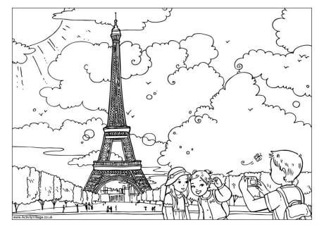 The Eiffel Tower Colouring Page Eiffel Tower Paris Landmarks