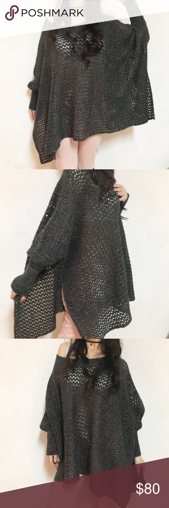 LF Oversized off shoulder holey knit sweater NWT