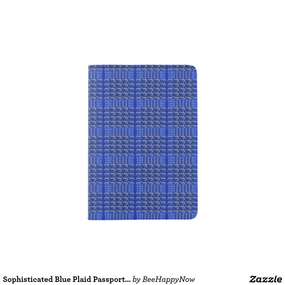 Sophisticated Blue Plaid Passport Holder