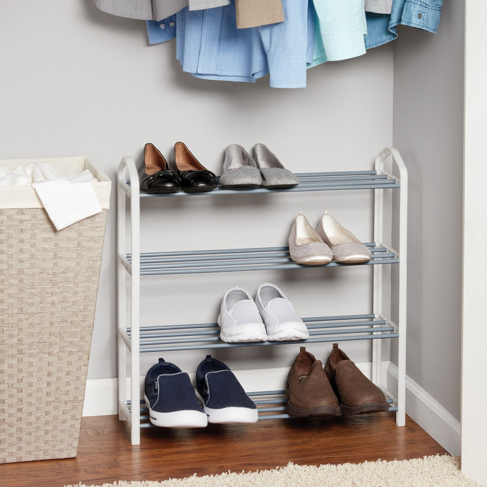 Mainstays 4Tier Shoe Rack, White with Steel Shelves