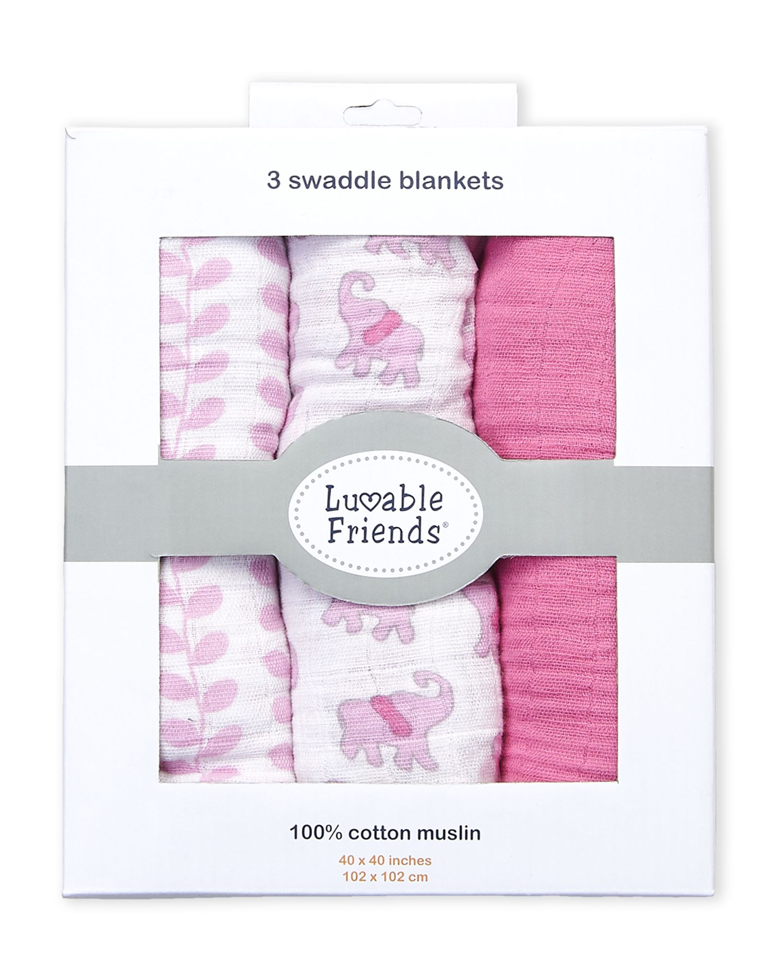 2-Pack Floral Luvable Friends Girl Muslin Swaddle Blankets