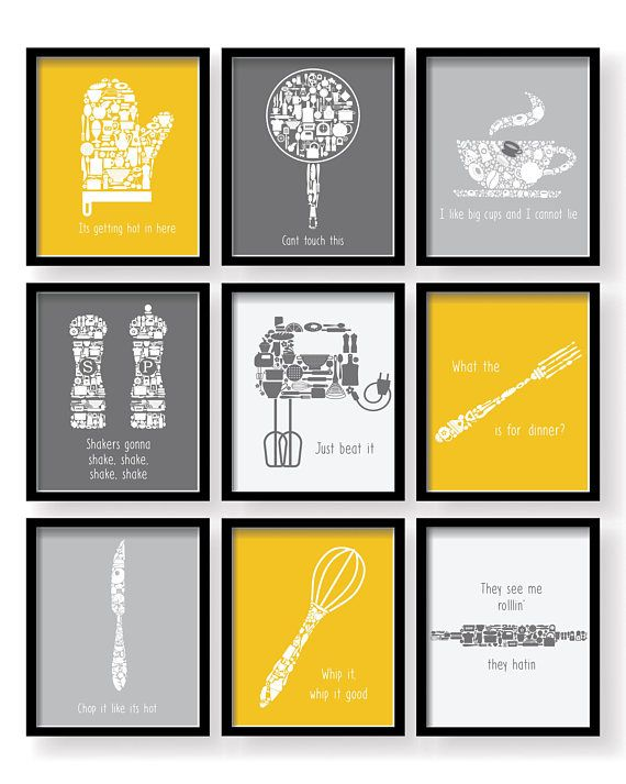 Set Of 9   Modern Color Mustard Yellow Gray Kitchen Funny Quotes Art Set, Kitchen  Decor,kitchen Print,kitchen Wall Art,kitchen Print Set