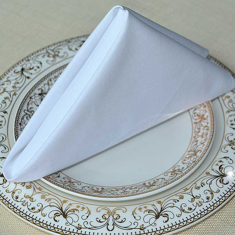 Wedding Napkins Cloth 100 Pure Cotton White Gold For Banquet Party Dinner
