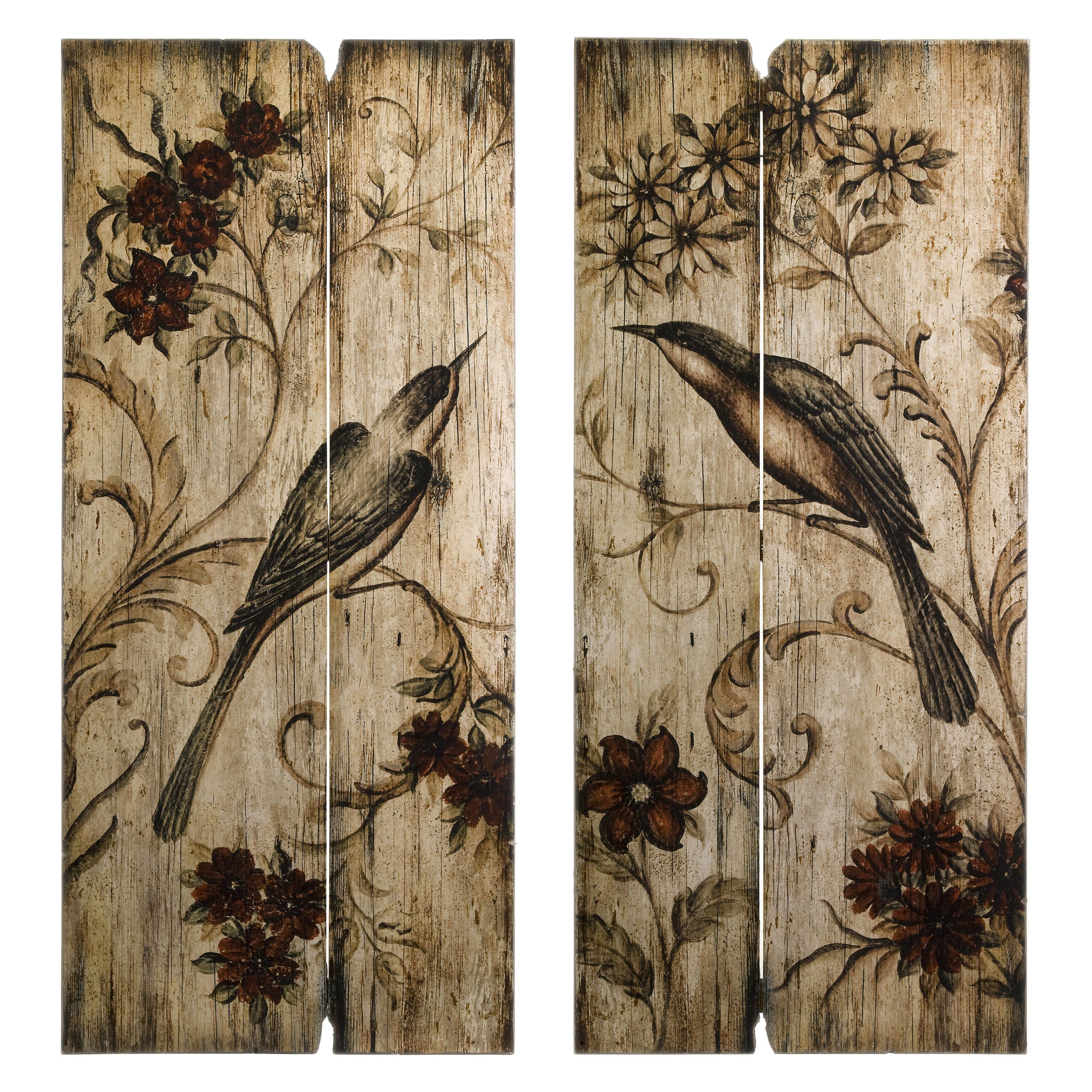 Have to have it imax norida bird wood wall art set of