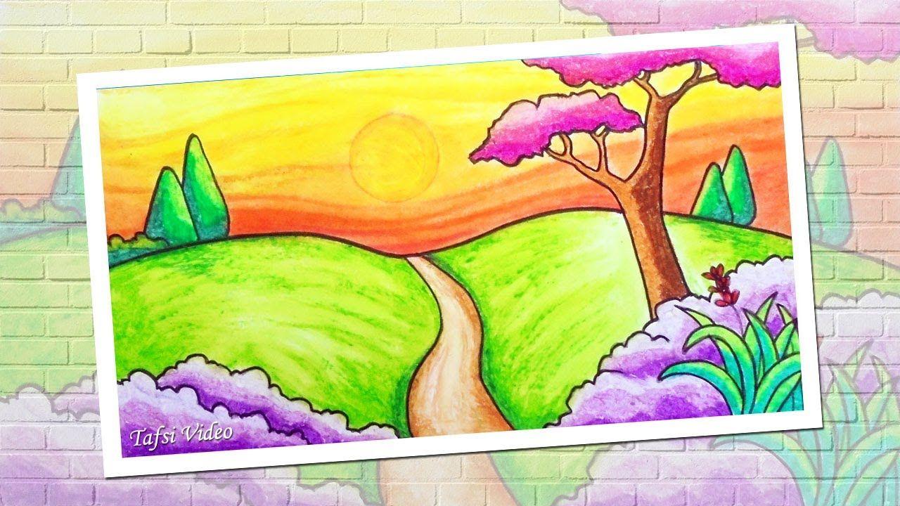 How To Draw Simple Scenery For Kids Menggambar Pemandangan Alam Yang S Pemandangan Cara Menggambar Gambar Simpel