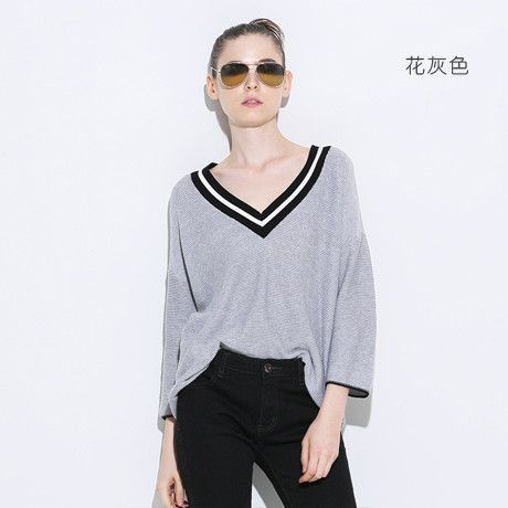 Toyouth Knitted Sweater 2017 Spring New Women Elegant V-Neck Three Quarter Sleeve Pullovers Sweaters