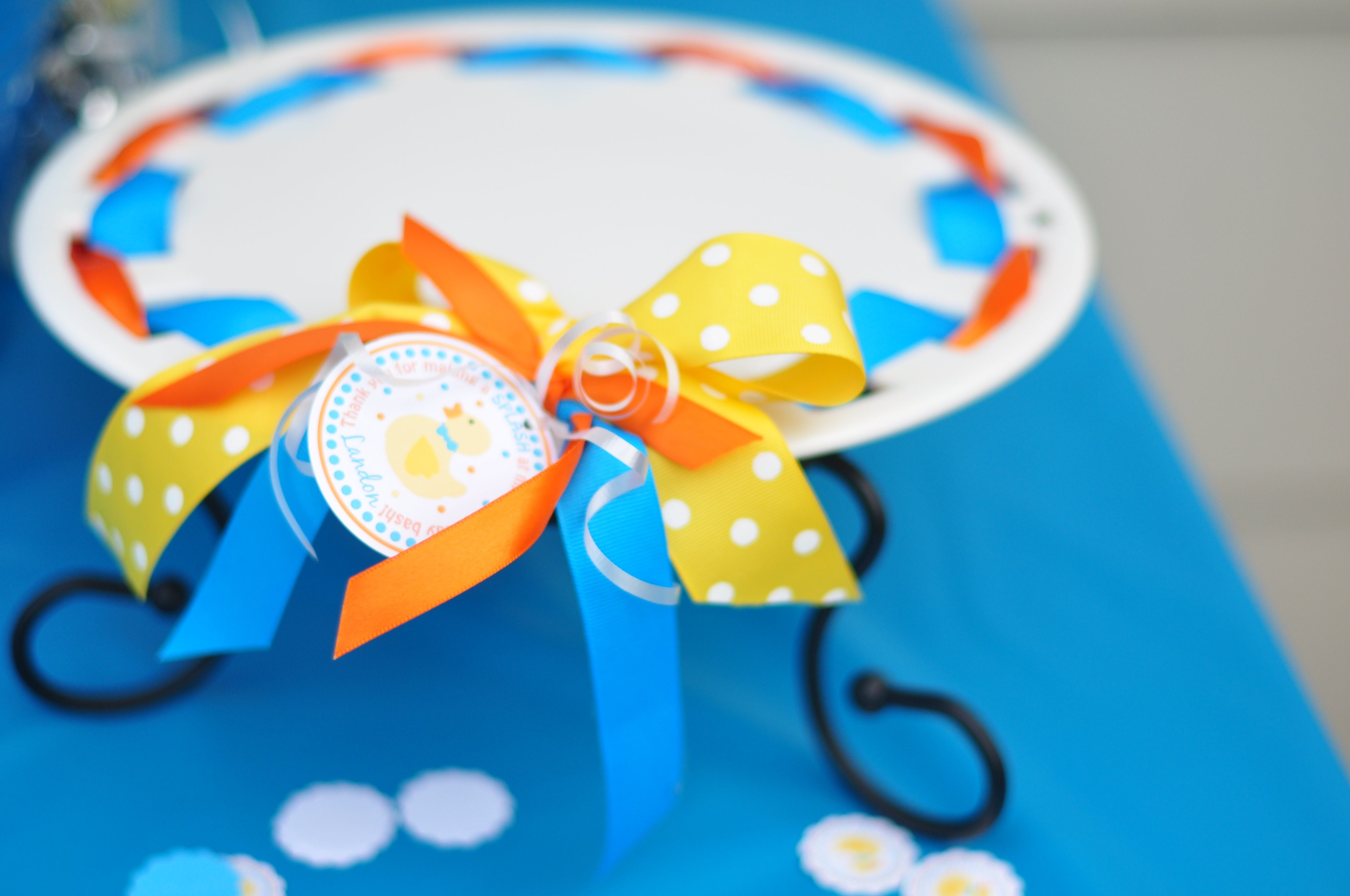 Ribbon to match your themes gives the extra little touch to make everything stand out just a little more!