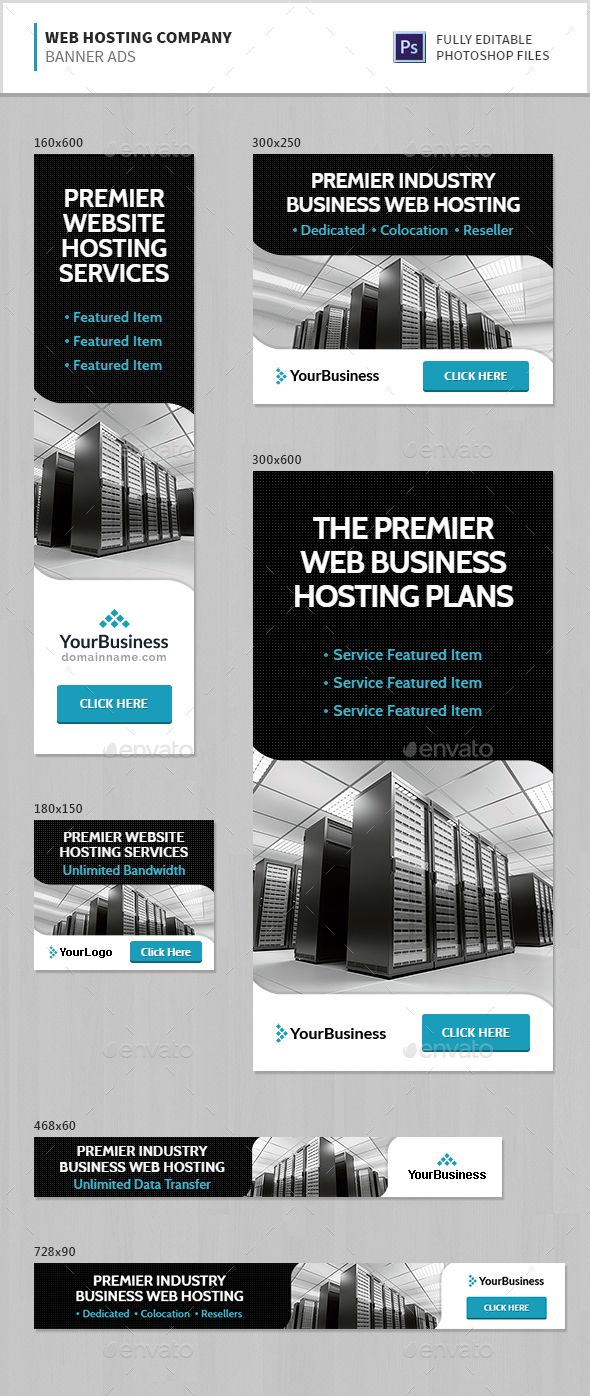 Web Hosting Company Banner Ads Template PSD. Download here: http ...