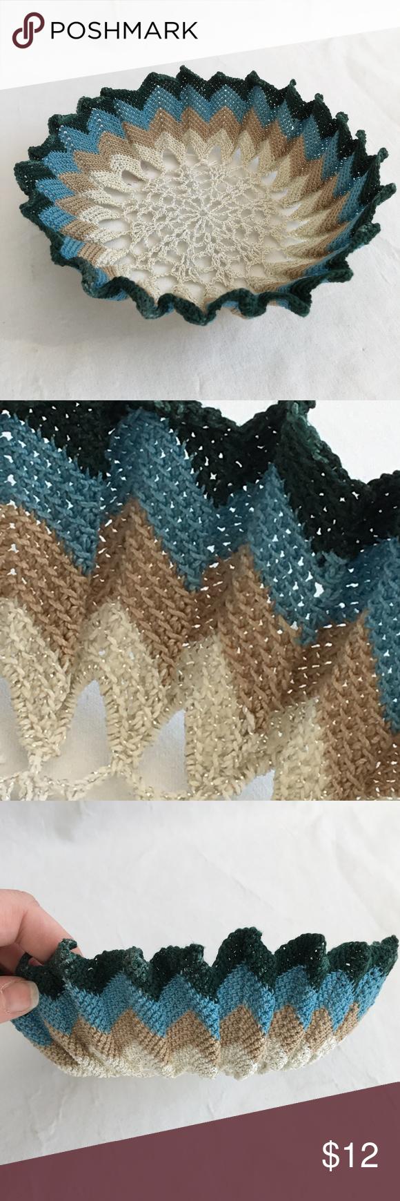 Medium Ripple Chevron Crochet Bowl Medium Ripple Chevron Crochet Bowl Handmade.  Made out of 100% cotton and measures 2 1/2 high and has a diameter of 8 1/2. Accents Baskets & Bins #crochetbowl