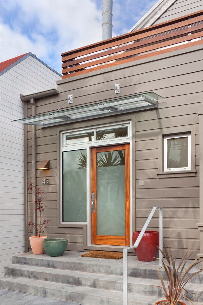 Front Door Awnings Entry Modern With Glass Overhang House Numbers